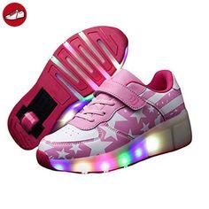 CICI Kind Jazzy Schuhe Junior Mädchen / Jungen LED Licht Schuhe Kinder Roller Skate Kinder Turnschuhe mit Rädern (2, Rosa) (*Partner-Link)