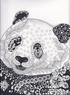 Coloring for adults - Kleuren voor volwassenen Panda Coloring Pages, Free Coloring Pages, Coloring Books, Panda Love, Cute Panda, Panda Art, Panda Panda, Different Drawing Styles, Panda Nursery