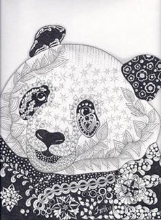 Panda - Zentangled Zoo Animal Wildlife Insect Coloring pages colouring adult detailed advanced printable Kleuren voor volwassenen coloriage pour adulte anti-stress kleurplaat voor volwassenen Line Art Black and White Zentangle