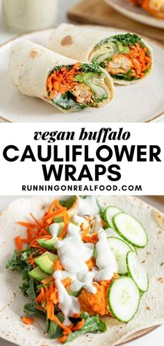 Vegan Buffalo Cauliflower Wraps