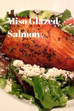 A delicious miso glazed salmon over salad with toasty poppy seeds. Homemade Coleslaw, Homemade Hummus, Best Seafood Recipes, Asian Recipes, Food Journal, Recipe Journal, Bacon Wrapped Filet, Most Delicious Recipe