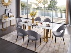 ESF Furniture Gold Gold marble dining table in luxury style Marble top and golden stainless 7 Piece Dining Set, Dining Room Sets, Dining Room Table, A Table, Dining Area, Table Legs, Wood Table, Marble Top Dining Table, Modern Table