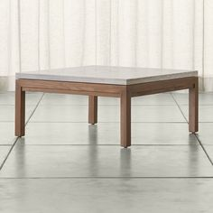 Parsons Travertine Top/ Elm Base 36x36 Square Coffee Table - Crate and Barrel
