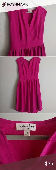 Hot Pink Maison Jules Dress Excellent used condition! Gorgeous hot pink color in a classic shape with a tailored cut. Perfect for spring/summer! Versatile for work or play; add tights and a blazer for daytime or heels and a cute clutch for night. Maison Jules Dresses