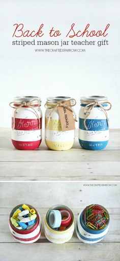 Check out 14 DIY Back to School Supplies For All Ages | Back to School Striped Mason Jars by DIY Ready at http://diyready.com/diy-back-to-school-supplies/