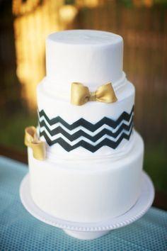chevron and bowties. love! #wedding #cakes