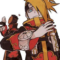 I love this picture of Deidara and Tobi. The akatsuki cloak is amazing! Naruto Uzumaki, Sasori And Deidara, Deidara Akatsuki, Karin Uzumaki, Kakashi, Anime Naruto, Boruto, Manga Anime, Sakura Uchiha