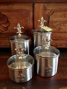 Fleurty Girl - Everything New Orleans - Metal Fleur de Lis Canister Set - Kitchen/Bar - For the Home. Add a home touch to LG Black Stainless Steel Series Kitchen Canisters, Kitchenware, Cajun Decor, New Kitchen, Kitchen Decor, New Orleans Decor, Louisiana Kitchen, Tuscan House, Tuscan Decorating