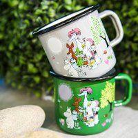 """Muurla 3.7 dl Enamelled Steel """"Moomin Garden"""" Moomin Mug, Grey"""