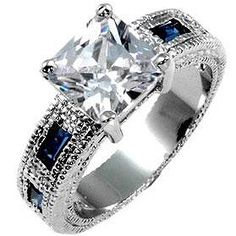 Blue Sapphire Engagement Ring - a sterling silver ring, $34.95