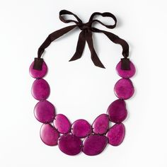 Mira Necklace - orchid ($72, On Sale $54) - Sustainably harvested tagua seeds from the Ecuador rain forest are assembled into a bold necklace by an artisan group in the mountains outside of Quito and finished