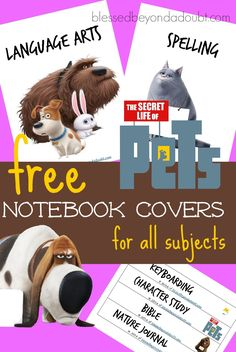 FREE The Secret Life of Pets notebook and binder covers for all subjects. Your child will be thrilled to start school with these. Back To School Deals, Back To School Hacks, School Tips, Binder Cover Templates, Binder Covers, Notebook Covers, Pets Movie, Secret Life Of Pets, First Day Of School