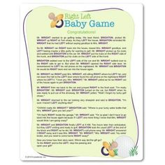Marvelous Printable Right Left Baby Shower Game: Pass The Wrapped Gift Left Or Right  As The