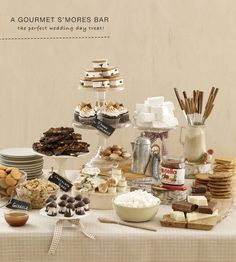 S'mores bar at wedding.  Perfect for a dessert reception!  Maybe a bit messy though.