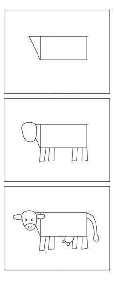 everyone can draw a cow very adaptable for a shape craft project