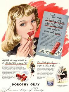 An illustration filled Dorothy Grey lipstick ad from the 40s.