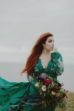 Stunning Icelandic Elopement with green wedding gown and over the top florals! Emerald Green Wedding Dress, Green Wedding Dresses, Emerald Green Weddings, Wedding Dresses Plus Size, Wedding Colors, Different Color Wedding Dresses, Bridal Gowns, Wedding Gowns, Lace Wedding
