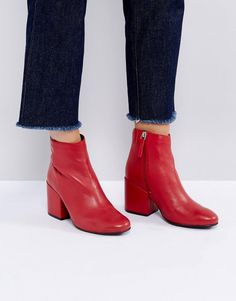 Pull&Bear Leather Ankle Boot With Zip Details - Red
