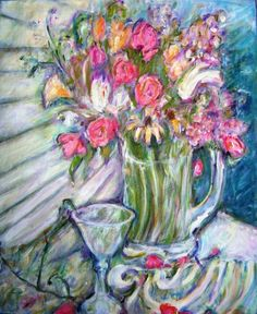 New Print!  Lilies and Roses Impressionist Work