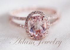 Halo+Oval+VS+6x8mm+Morganite+Ring/+Engagement+Ring/+by+AdamJewelry,+$400.00