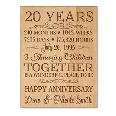 Personalized 20th anniversary gift for him,20 year wedding anniversary gift for her,Special date to remember,Important dates,20 year wedding by DaySpringMilestones on Etsy
