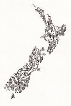 New Zealand Patterned Art tattoo idea New Zealand Tattoo, New Zealand Art, Maori Designs, Tattoos Skull, New Tattoos, Tatoos, Maori Symbols, Tattoo Symbols, Maori Patterns