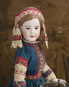 "19"" (48 cm) French Bisque Character, 238, by SFBJ, Original Russian Costume by J Margaine-Lacroix Antique dolls at Respectfulbear.com"
