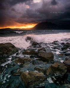 Dramatic Sunset from Elgol, Isle of Skye, Scotland.
