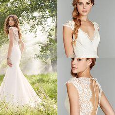 Wholesale Mermaid Wedding Dresses - Buy 2014 Hot Mermaid Wedding Dresses New Sexy V Neck Cap Sleeves Satin Lace Backless Court Train Bridal ...