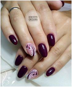 Silver Nail Designs, Manicure Nail Designs, Elegant Nail Designs, Subtle Nail Art, Trendy Nail Art, Stylish Nails, Mauve Nails, Purple Nails, Gold Nails