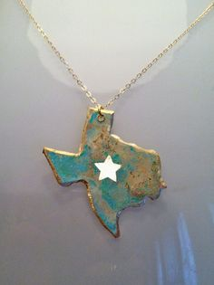 Handcrafted Brass Lone Star Texas Necklace // Looks like Baylor colors! #SicEm