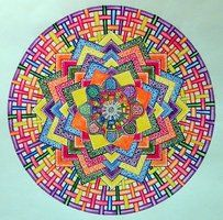 Prismacolor-, Pro-, TOuch- markers, Faber-Castell Polychromos colour pencils and white pigment ink (Uniball Signo Broad) on drawing paper drawing 30 (mixed media) Doodle Drawings, Doodle Art, Tangle Doodle, Zentangle, Pen Doodles, Fractal Art, Fractals, Circle Art, Doodle Patterns