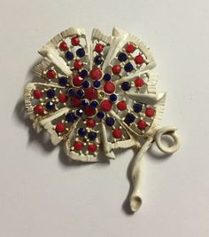 Vintage Patriotic Red White and Blue Open White Enamel Flower Pin Brooch | eBay