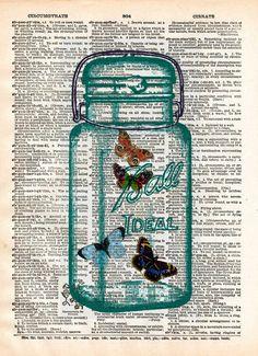 Butterflies dictionary art print, buterflies in mason jar, book page art
