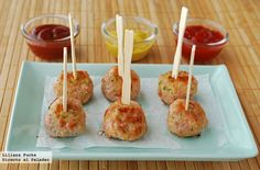 Recipe of mini spiced turkey meatballs with zucchini - food - Decoración My Recipes, Italian Recipes, Healthy Recipes, Healthy Food, Pollo Chicken, Spanish Cuisine, Turkey Meatballs, Caramel Apples, Appetizers