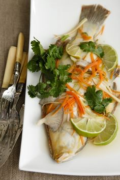 Poached Flounder with Asian Flavours