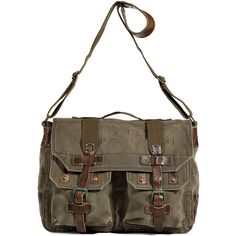 In love with this bag!! POLO RALPH LAUREN Montana Khaki Military Canvas Bag by None, via Polyvore