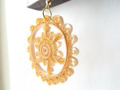 Paper Earrings, Quilled Beige Earrings, Elegant Earrings, Dangle Earrings, Niobium Earrings, Paper Quilling Jewelry by ElinaQuills on Etsy