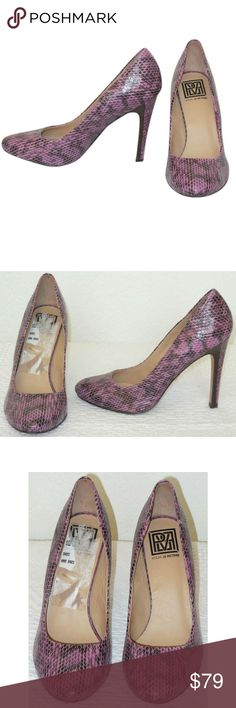 """NEW Snakeskin Pumps Classic pumps from Pour le Victoire in pink and black snakeskin. Rounded toe and 4"""" high stacked and snakeskin covered heel. Leather lining, sole and insole. Size 7.5 medium, brand new with out box. Pour La Victoire Shoes Heels"""