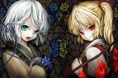 2girls blonde_hair flandre_scarlet gray_hair green_eyes komeiji_koishi nishi_masakazu red_eyes short_hair touhou vampire wings