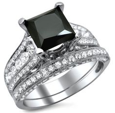 princess+cut+black+diamond+engagement+ring | 80ct Black Princess Cut Diamond Engagement Ring Wedding Band Set 18k ...