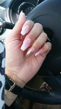 Coffin nails with ombre pink and white
