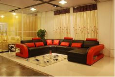 Cheap sofa band, Buy Quality sofas small directly from China sofa cheap Suppliers: Free Shipping Furniture Sofa Classic Black and Red Genuine Leather Sofa Large Size U Shaped Couches Living Room Corner s