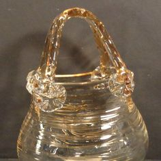 Vintage Hand Blown Art Glass Purse Vase Clear with by DDDRanch