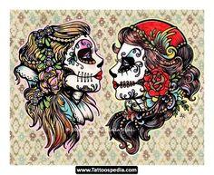 gypsy sugar skull rose flower woman lady girl old school Tattoo Flash Art ~A.R.