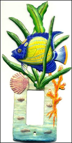Painted metal switch plate - Tropical fish light switch cover  - View more at www.SwitchPlateDecor.com