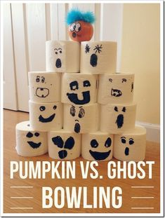 Pumpkin VS Ghost Bowling: An Easy Last Minute Craft and Game for #Halloween Week Using Toilet Paper Rolls | 4tunate.net