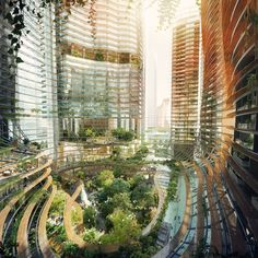 """Plans for Marina One, a new high-rise mixed-use development in Singapore combine a lush public garden with waterfalls, reflecting pools, rooftop gardens, and a cloud forest designed by landscape architect firm Gustafson Porter. """"Marina One is one of the first developments of its type to integrate soft landscape into the fabric of the building,"""" the London-based firm said in a statement."""