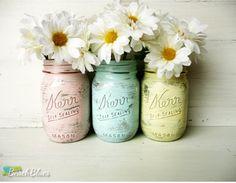Dorm Decor - Pastel Glam - Home or Office Decor - Painted Mason Jar - Silver Inside - Vase