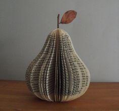 Folded Book Sculpture - Pear, book art, fruit, paper sculpture